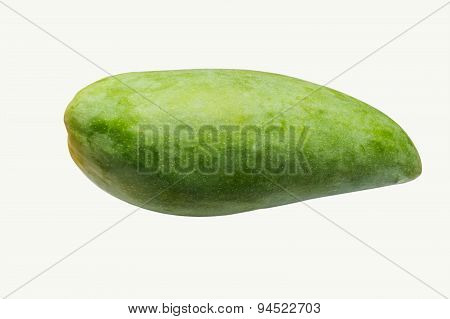 Raw Mango Fruit Isolate On White Background With Clipping Path
