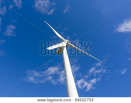 Single Wind Turbine Stopped In Blue Sky