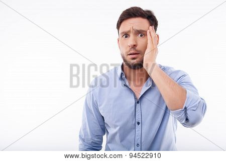 Attractive young man is stressed and worried