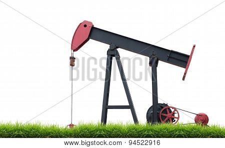 Pumpjack With Green Grass Isolated