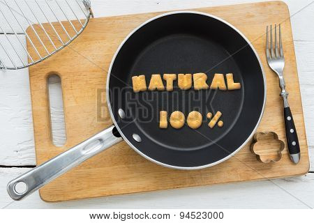 Cookie Biscuits Word Natural In Frying Pan