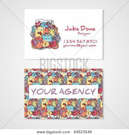Business Card Template Whit Funny Doodle Monstes.