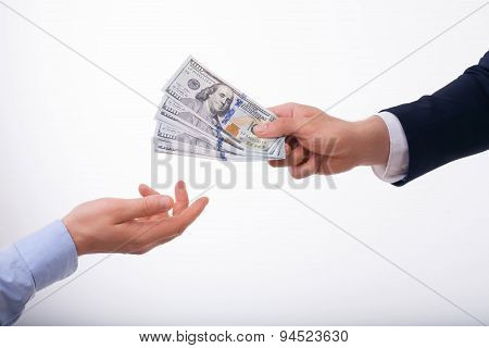 Rich young businessman is proposing big bribe