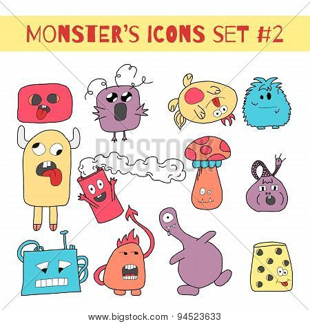 Doodle Monsters Icons In Bright Colors.