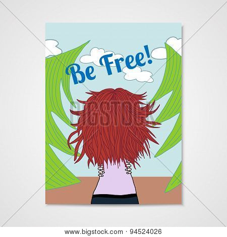 Poster With A Woman With Developing Hair In A Forest.