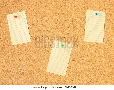 cork board three pinned note files
