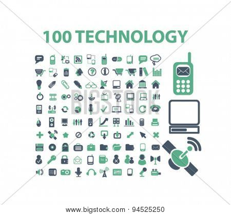 technology, communication, connection isolated icons, signs, illustrations on white background for website, internet, mobile application, vector