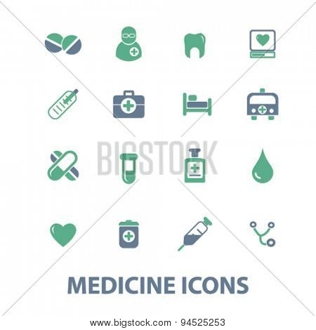 medicine, health care isolated icons, signs, illustrations on white background for website, internet, mobile application, vector