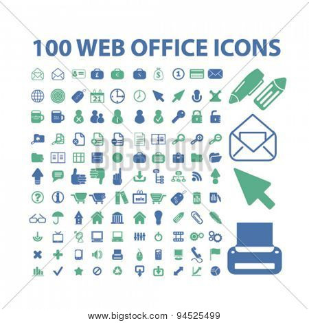 office, document, business isolated icons, signs, illustrations on white background for website, internet, mobile application, vector