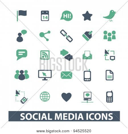 social, media, network, community isolated icons, signs, illustrations on white background for website, internet, mobile application, vector