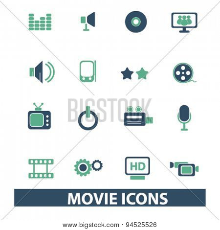 movie, cinema, tv isolated icons, signs, illustrations on white background for website, internet, mobile application, vector