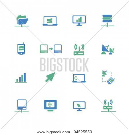 connection, link, communication, server isolated icons, signs, illustrations on white background for website, internet, mobile application, vector
