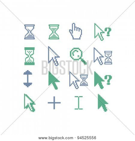 cursors, pixel, search, select, modify isolated icons, signs, illustrations on white background for website, internet, mobile application, vector