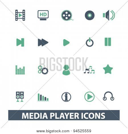 media player isolated icons, signs, illustrations on white background for website, internet, mobile application, vector