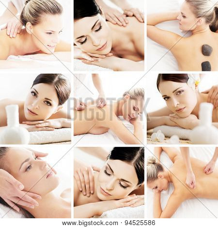 Spa and massage collage. Spa, rejuvenation, health care, healing and traditional medicine concept.