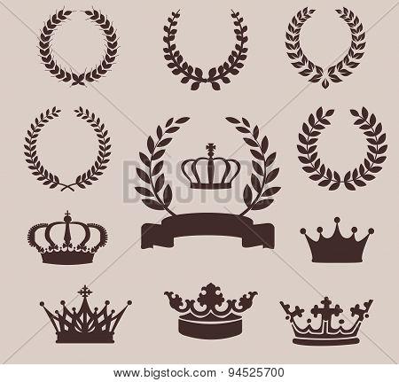 Set of laurel wreaths and crowns. Vintage emblem