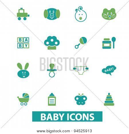 baby, children, toys isolated icons, signs, illustrations on white background for website, internet, mobile application, vector