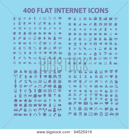 400 flat, business, media, travel, recreation, construction, technology, communication isolated icons, signs, illustrations on white background for website, internet, mobile application, vector