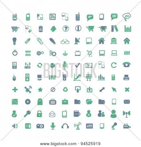 communication, computer, smartphone, business isolated icons, signs, illustrations on white background for website, internet, mobile application, vector