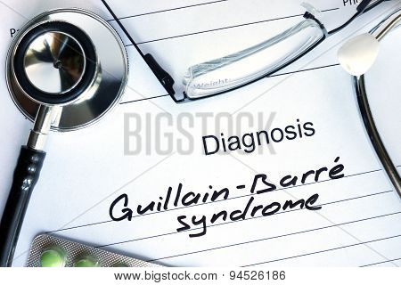 Diagnostic form with diagnosis Guillain-Barre syndrome.