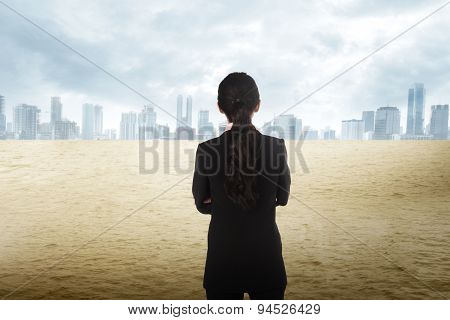 Asian Business Woman Looking The City On The Desert