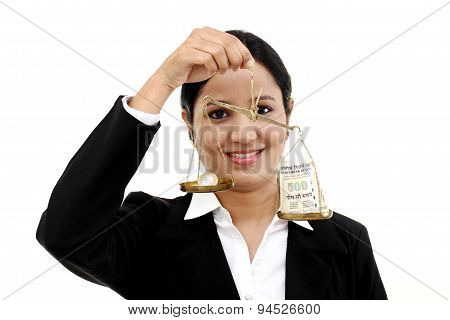 Business Woman Holding The Justice Scale- Money Saving Concept