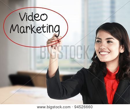 Business Woman Writing Video Marketing