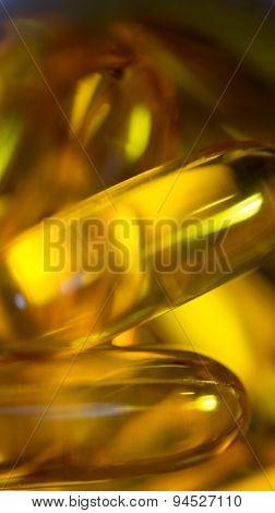 Fish Oil Gel Capsules Macro Vertical