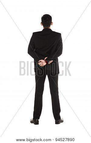 Asian Business Man Standing Backview