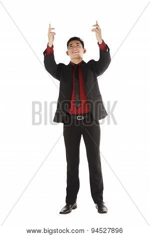 Asian Business Man Holding Something