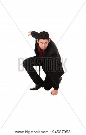 Asian Business Man With Fighting Gesture