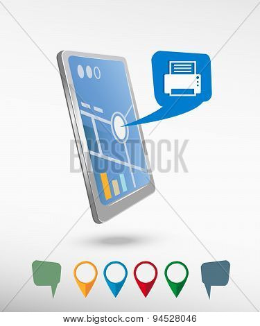 Printer And Perspective Smartphone Vector Realistic