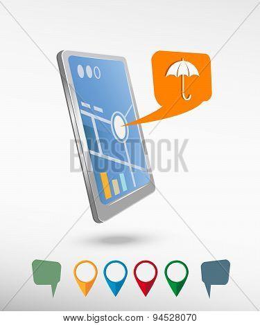 Umbrella And Perspective Smartphone Vector Realistic
