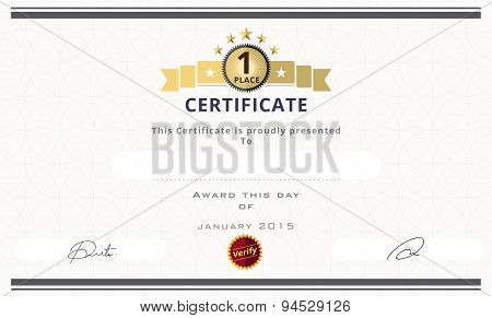 Certificate Template With First Place Concept. Certificate Border Design. Vector Illustration