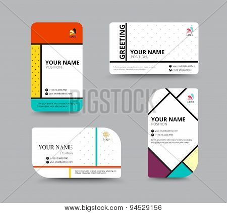 Business Card Template. Name Card Design For Business. Include Sample Text Layout. Vector Illustrati