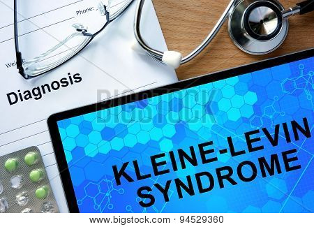 Diagnosis Kleine-Levin Syndrome and tablets.