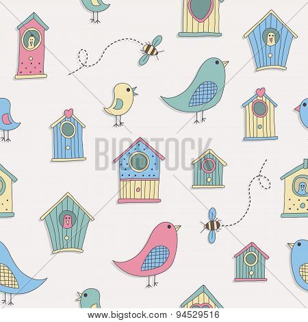 A set of cute bird houses and birds in a repeat pattern