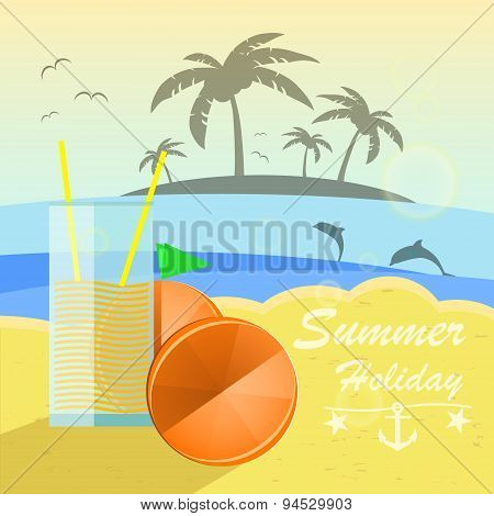 Beautiful seaside view with oranges and juice. Summer holiday vector background.