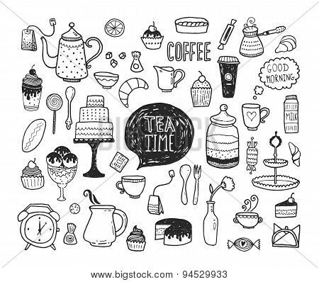 Hand drawn tea time collection