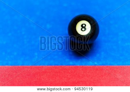 Pool Table With Eight-ball Next To Cushion