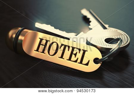 Hotel - Bunch of Keys with Text on Golden Keychain.