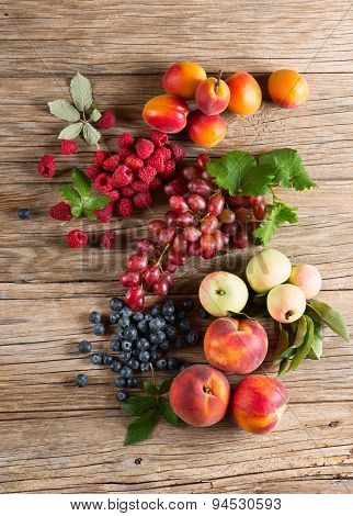 Set Of Different Fresh Fruits, View From Above