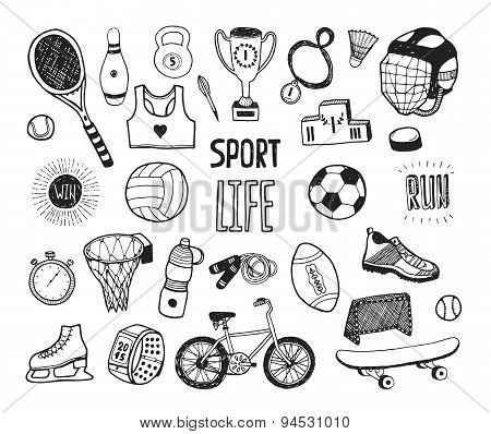 Hand drawn doodle sport collection