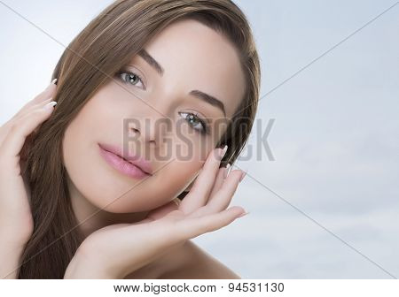 Nice woman face and hands