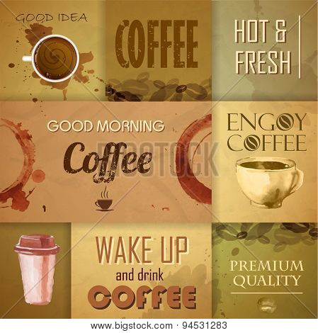 Collection Of Vintage Coffee Design Elements