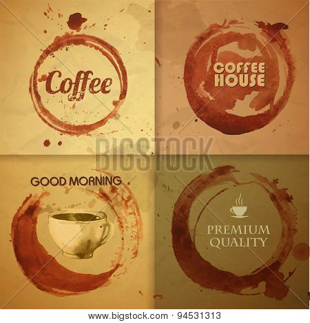 Watercolor Vintage Coffee Stain Background