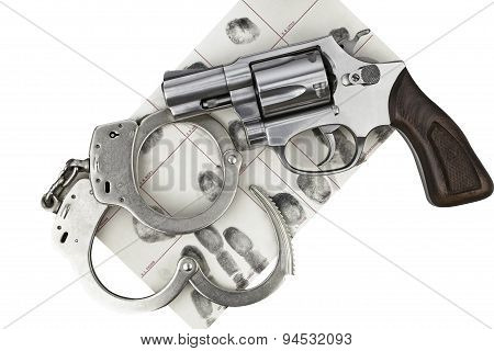 Gun With Handcuff And Fingerprint Id For Criminal Arrest