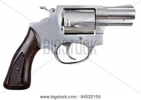 Gun Pistol Revolver Isolated On White Background