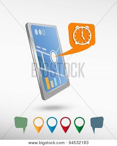 Alarm Clock And Perspective Smartphone Vector Realistic