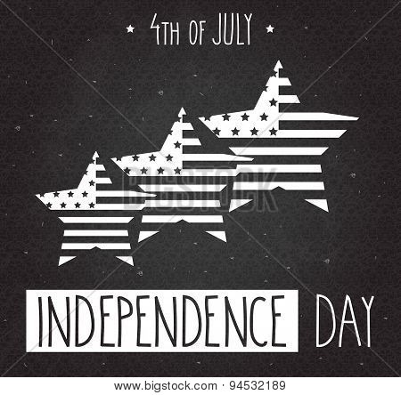 Independence Day hand drawn poster.. 4th Of July